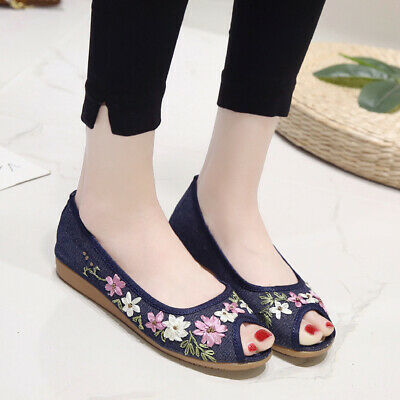 Summer Women's Embroidered Loafers Pumps Casual Flats Shoes Slip On