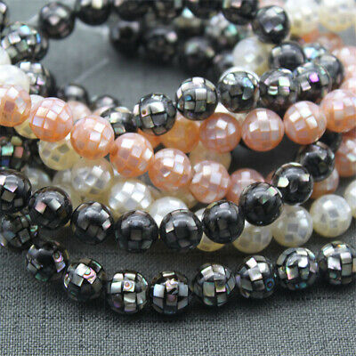 1PCS 10mm Round Faceted Natural Shell Loose Beads Diy Accessories Stone Lots