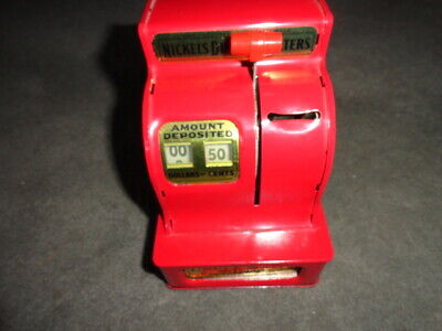 Vintage Uncle Sam's 3-Coin Cash Register Bank (Red) - Nice Working Condition