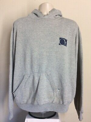Vtg 80s OP Ocean Pacific Hooded Sweatshirt L Heather Gray Hoodie Surf Surfboard