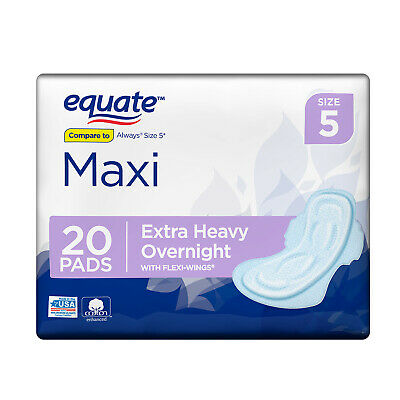 ( 10 Pack ) Equate Absorb Pads Flexi-Wings, Extra Heavy Overnight, Size 5, 20 Ct