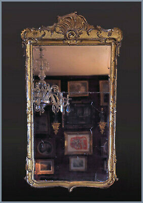 A Large Early Danish Wood Carved Gilt & Silver Leaf Rococo Mirror . Ca. 1730´s