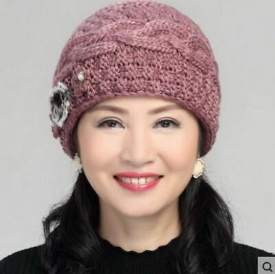 Knitted Winter Hat For Women Casual Floral Designed Stylish Head Accessories New