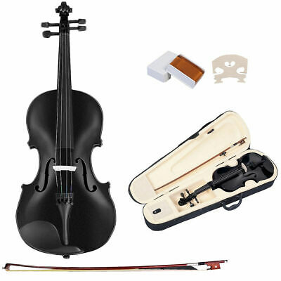 4/4 Full Size Natural Acoustic Violin Fiddle with Case Bow Black