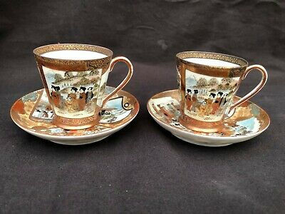 2 x Antique japanese Kutani  EGG SHELL Cup and saucer . Marked bottom