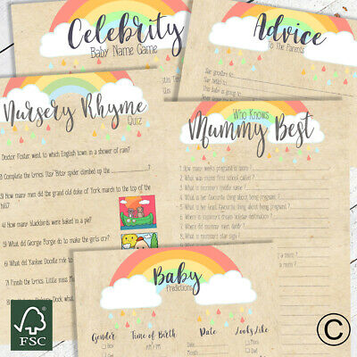 BABY SHOWER GAMES- Rainbow Kraft Unisex Favours Predictions Who Knows Mummy Best