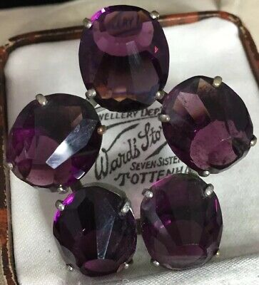 Victorian Antique Fabulous Large Amethyst Glass Brooch