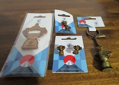 NEW Rugby World Cup Japan 2019 Trophy Keyring Pin Badge Cufflinks Bottle Opener
