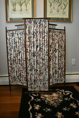 Petite Antique Victorian Dressing Screen with Vintage Brunschwig & Fils Fabric