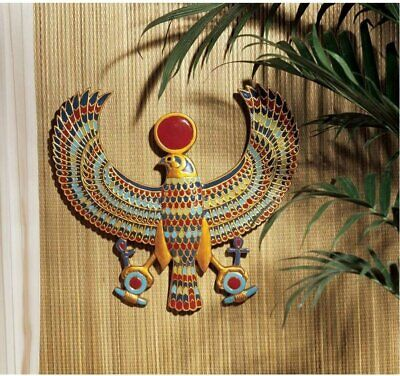 Egyptian Horus Wall Art Sculpture Winged Falcon Sky God w/Sun Disc & Ankhs Decor