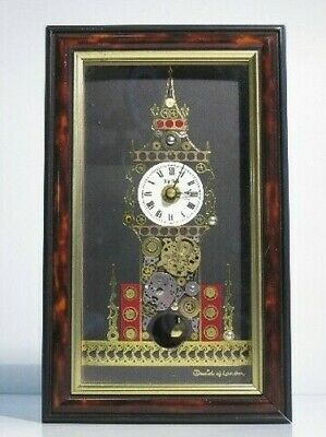 Vintage Carré Pendule Anglais Composition Art David Of London Xx Seconde