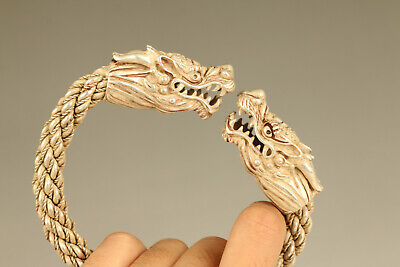 Rare Tibet silver hand carved dragon head statue noble bracelet gift