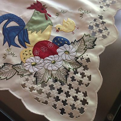 """Rooster Eggs Chicks Cutwork Square Tablecloth Handmade In Cypress 34"""""""