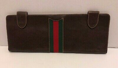 Vintage Gucci Brown Leather W/ Green & Red Stripe  Tie Or Scarf Travel Case