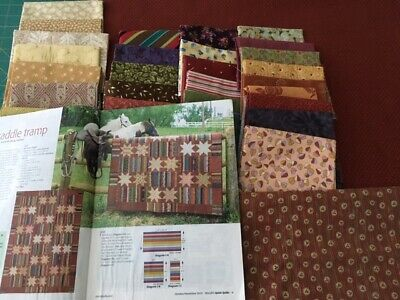 "Saddle Tramp Quilt Top Kit, Easy, Scrappy. 64"" X 91"" (Extra Fabric Added)"