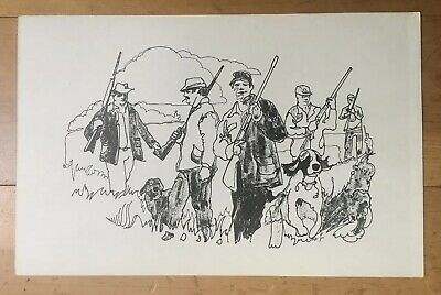 """Rare VINTAGE HUNTING EDUCATION POSTER 11""""x17"""" Large Hunter Groups Drawing"""