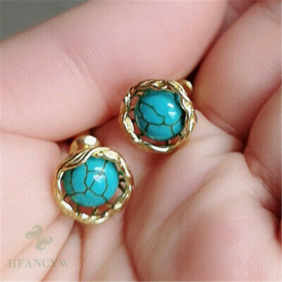 Natural Turquoise Gold Plated Earring Ear Stud Wedding Jewelry Hang Classic