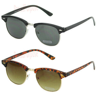 New Mens Womens Horn Frame Sunglasses Vintage 80s Clubmaster Retro Metal Shades
