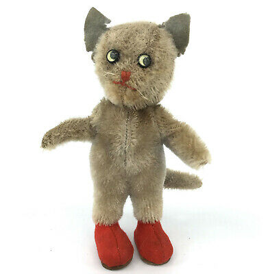 Kersa Kitty Cat Puss n Boots Mohair Plush 15cm 6in ID Tag 1950s Vintage As Is