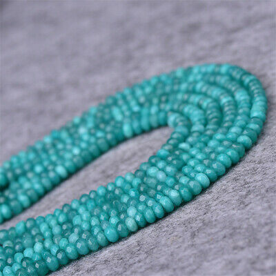 1pcs 2X4MM Amazonite Faceted Gemstone Loose Bead Stone Opaque Wholesale Healing