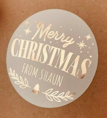 28x Foiled Personalised ROSE GOLD 35MM WHITE CHRISTMAS ROUND LOGO LABEL STICKERS