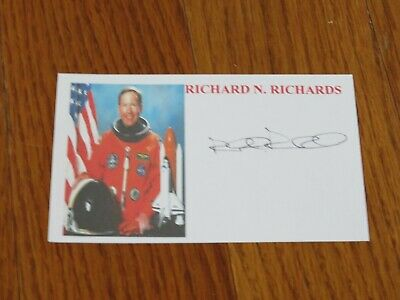 Richard Richards Autographed 3x5 Card Hand Signed Space NASA Astronaut