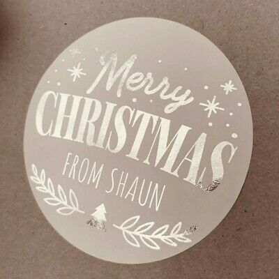 Personalised FOILED Christmas SILVER Party Gift Bag Stickers Xmas