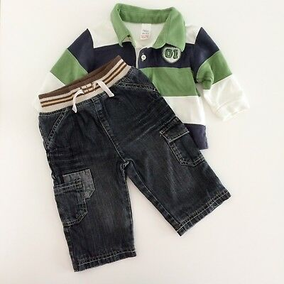 Baby Boys NEXT Polo Shirt And GEORGE Grey Jeans Outfit Size 3-6 Months