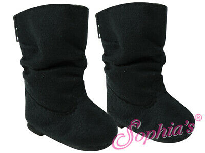 Black Suede Slouchy Boots - 18 Inch Doll Shoes - Fits American Girl Dolls