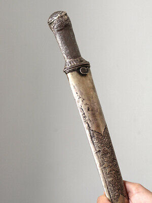 Antique knife with silver hilt and sheath, demon's head, BALI , Indonesia