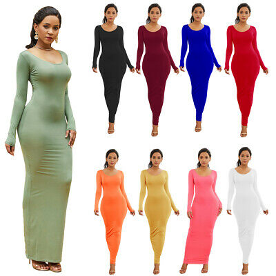 New Women Long Sleeve Maxi Dress Ladies Round Neck Bodycon Slim Clubwear Vest