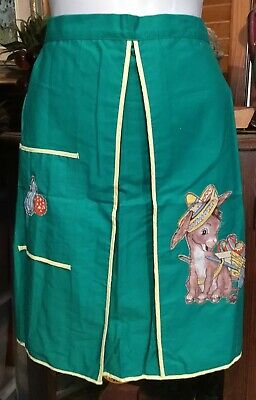 Vintage 50s Super Cute kitsch Retro green Donkey Motif Tie Back Apron Pinny