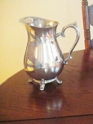 International Silver Co Silver Plate Footed Water Pitcher,  Ice Block, Gc