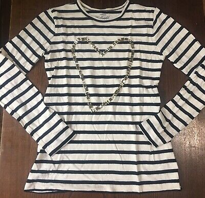 Crewcuts By J. Crew Girls 12 Black/White Stripped Heart Shaped Jeweled Size L