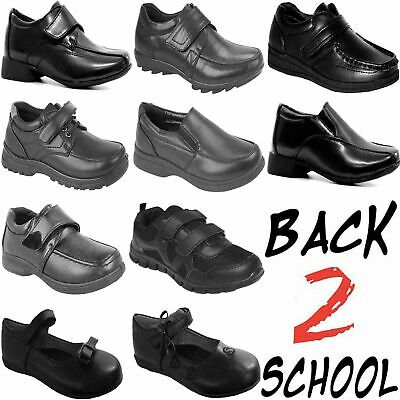 Boys Girls Back To School Smart Dress Shoes Kids Trainers Formal Black Boots New