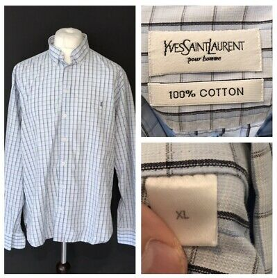 Yves Saint Laurent YSL Men's Shirt Blue Check Long Sleeve XL Extra Large