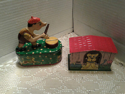 vintage lot of 2 Metal Money Box Coin Tin Piggy Bank for parts or restoration