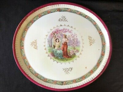 Antique French porcelain serving plate with beautiful handpainted scene