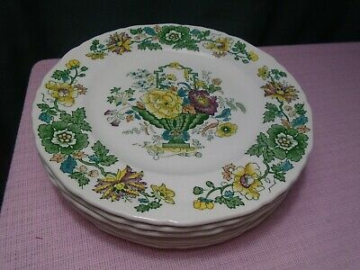"""Masons Strathmore China Plates Luncheon (5) 9"""" Green Vintage"""