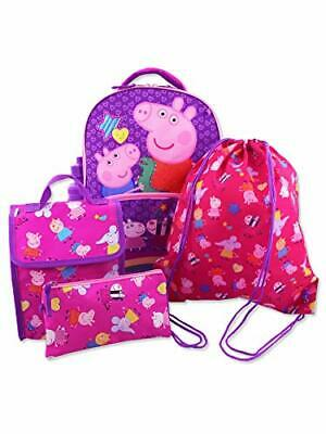 Peppa Pig Girls 5 Piece Backpack and Snack Bag School Set One Size Pink Purple