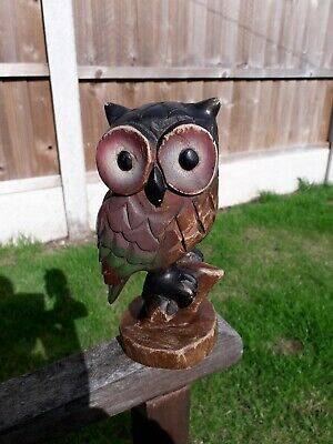 Large Vintage Hand Carved Wooden Wood Owl Bird Sitting On Perch Figure Ornament