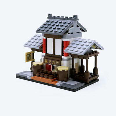 Mini Street View Chinese Ancient Workshop Building Blocks Bricks Figures Toys