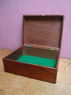 Antique Edwardian Mahogany Instrument Box Green Baize Lined Base