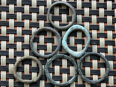 Lot Of 6 Ancient Celtic Bronze Proto Rings Money Circa 500 Bc Very Rare