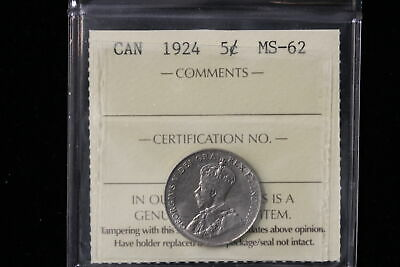1924 Canada. 5 Cents. ICCS Graded MS-62. (XLV111)