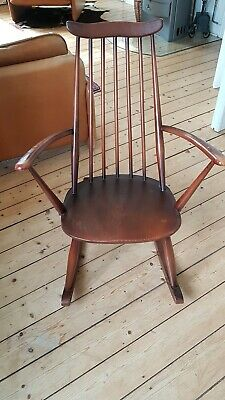 Ercolani Ercol Goldsmith Schaukelstuhl Rocking Chair 1960, Ulme, gemarkt, Top