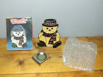 Vintage Christmas Tiffany Style Glo Candle Snowman