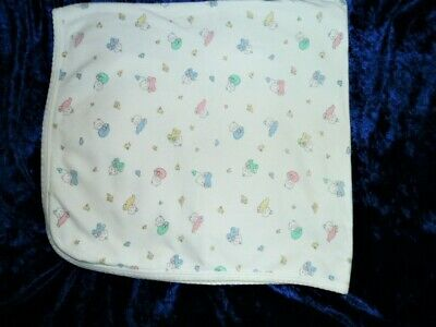 Quiltex Vintage Baby Blanket Cotton Pastel White Pink Blue Green Yellow Bunny