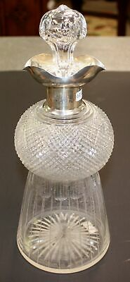 Antique English Glass And Sterling Silver Decanter
