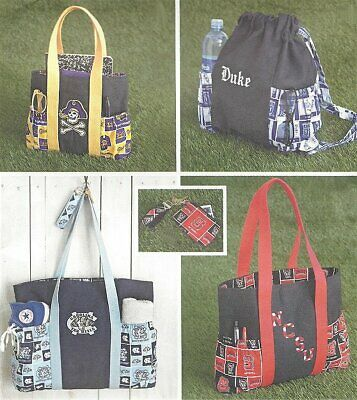 Sewing Pattern Tote Bag Backpack Change Purse Athletic School Simplicity 1338